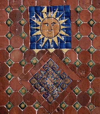 Detail with Sun:  Church of Guadalupe, Puebla, Mexico