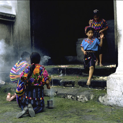 Leaving Sto Tomas Church, Chichicastenango, Guatemala